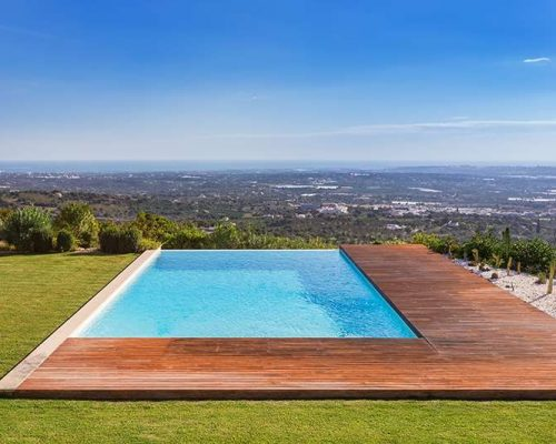 Create a serene swimming pool landscape with artificial grass.